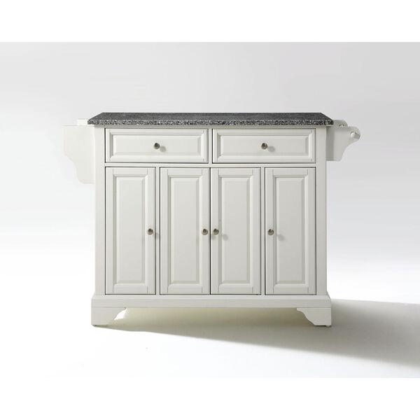LaFayette Solid Granite Top Kitchen Island in White Finish, image 1