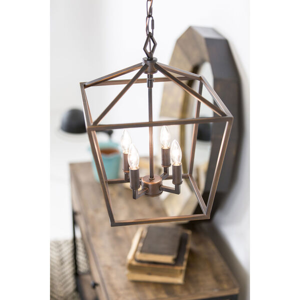 Kenwood Rubbed Bronze Four-Light Lantern Pendant, image 14