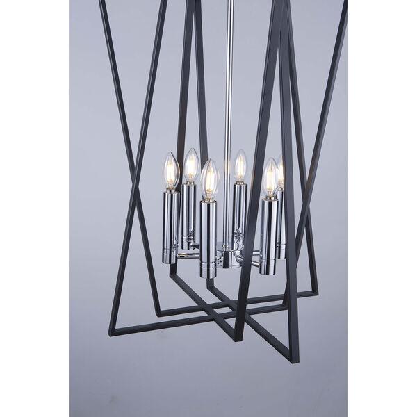 Middleton Matte Black and Polished Chrome Six-Light Geometric Chandelier, image 4