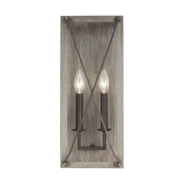 Ash Washed Pine Two-Light Wall Sconce, image 2
