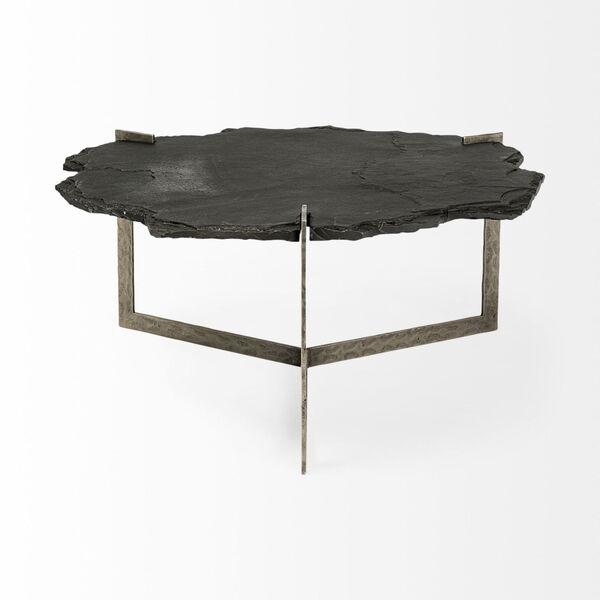 Shale II Black Irregular Live-Edge Slate Coffee Table with Flat Iron Base, image 4