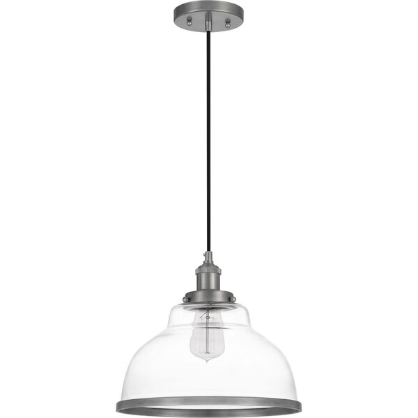 Leo Antique Nickel 12-Inch One-Light Pendant with Clear Glass, image 6