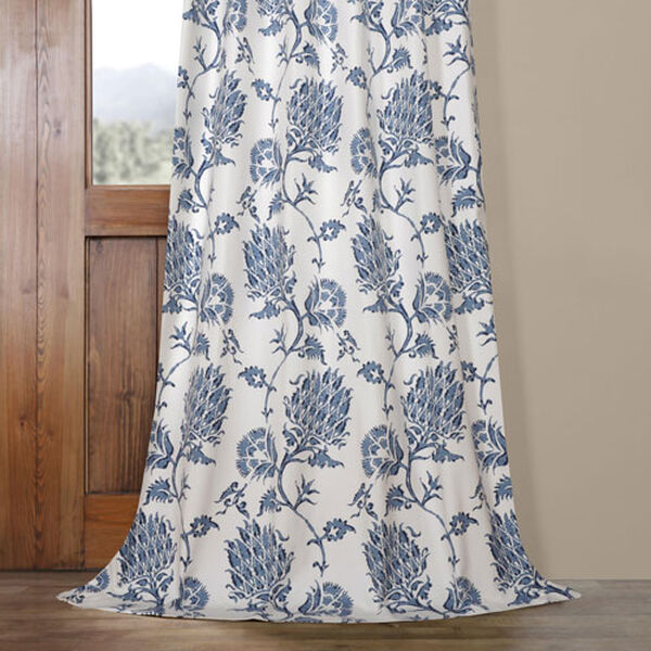 Royal Blue 84 x 50 In. Printed Cotton Twill Curtain Single Panel, image 5