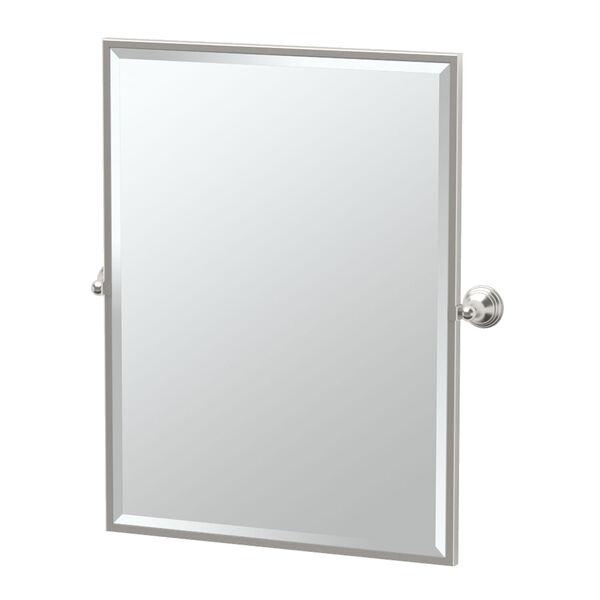 Charlotte Satin Nickel Framed Large Rectangle Mirror, image 1