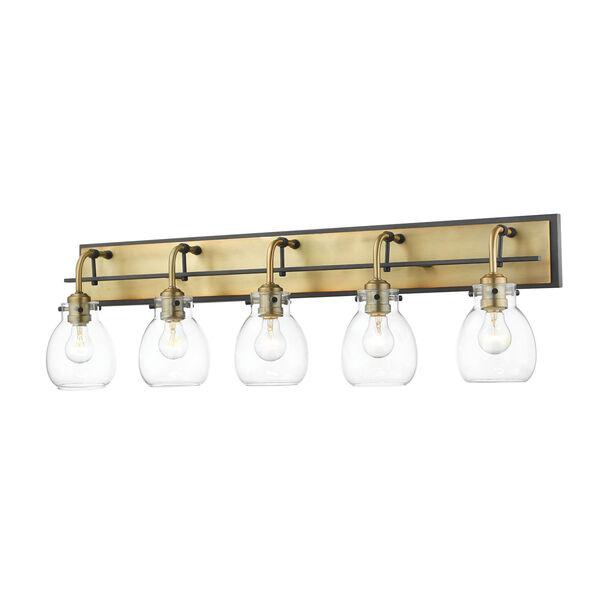 Kraken Matte Black and Olde Brass Five-Light Vanity With Transparent Glass, image 1