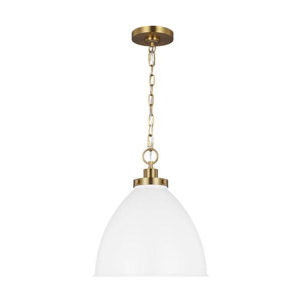 Wellfleet Matte White and Gold 14-Inch One-Light Pendant, image 2