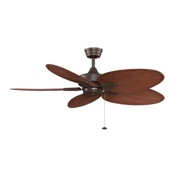 Windpointe Oil Rubbed Bronze 52-Inch Ceiling Fan with Palm Brown/Red Blades, image 1