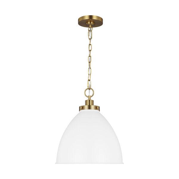 Wellfleet Matte White and Gold 14-Inch One-Light Pendant, image 1