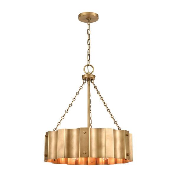 Clausten Natural Brass Four-Light Chandelier, image 1