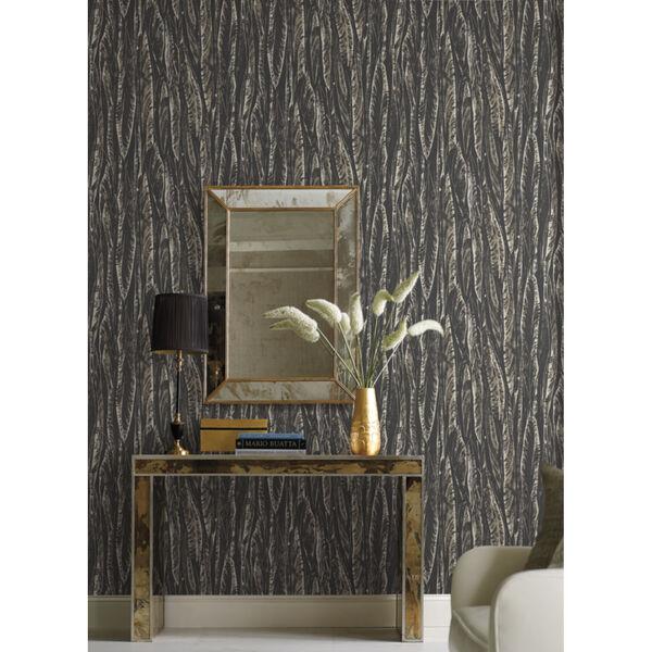 Antonina Vella Elegant Earth Black Native Leaves Bohemian Wallpaper, image 1