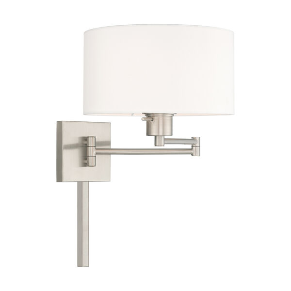 Swing Arm Wall Lamps Brushed Nickel 11-Inch One-Light Swing Arm Wall Lamp with Hand Crafted Off-White Hardback Shade, image 4