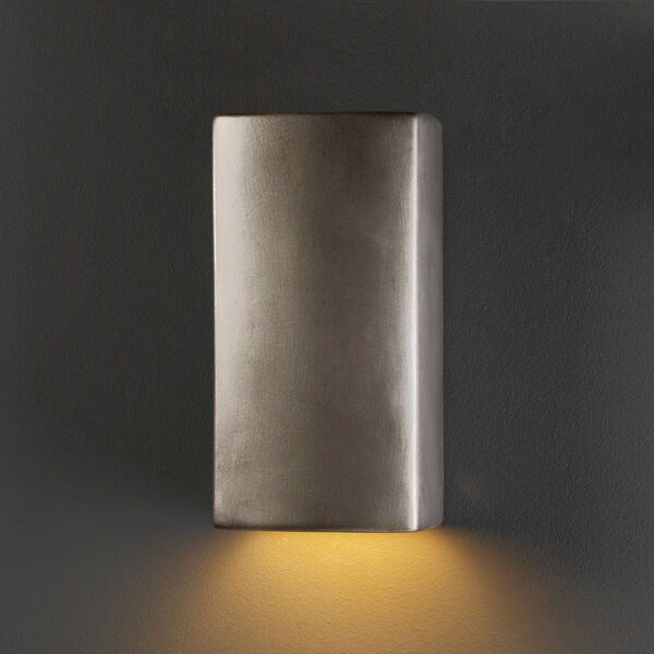 Ambiance Antique Silver Five-Inch ADA Closed Top GU24 LED Rectangle Outdoor Wall Sconce, image 2