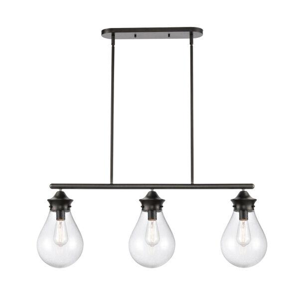 Genesis Matte Black 39-Inch Three-Light LED Island Chandelier with Seedy Glass Shade, image 1