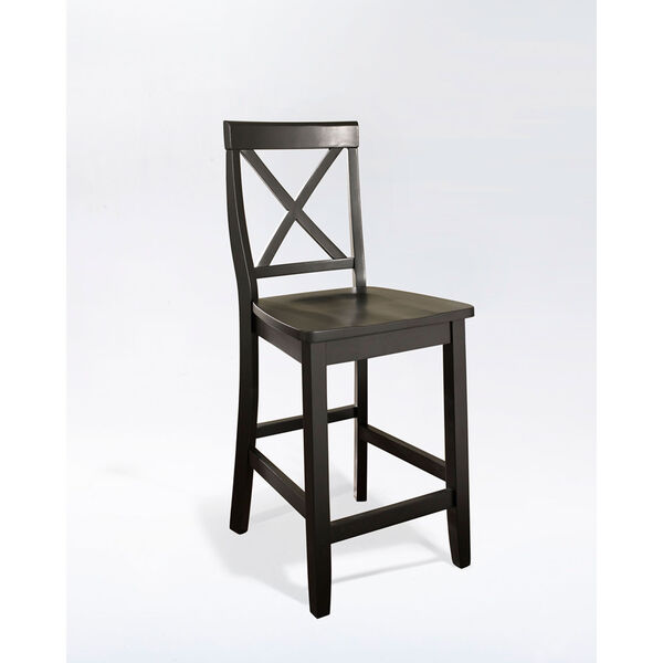 X-Back Bar Stool in Black Finish with 24 Inch Seat Height- Set of Two, image 1