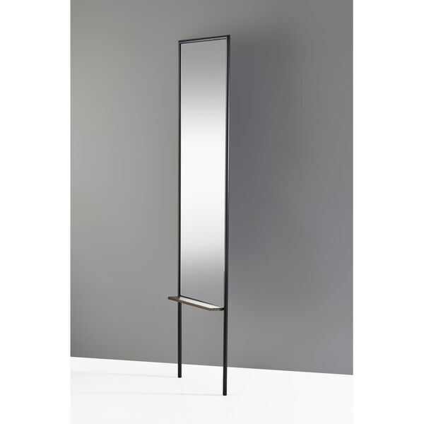 Monty Black and Walnut Leaning Mirror, image 3