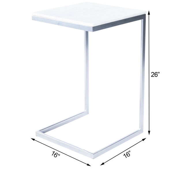 Lawler Nickel Metal and Marble End Table, image 12