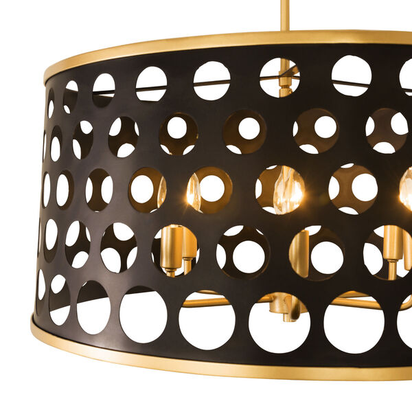 Bailey Matte Black French Gold 24-Inch Six-Light Pendant, image 3