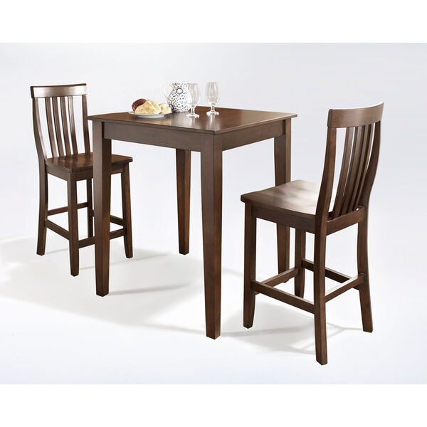 Three Piece Pub Dining Set with Tapered Leg and School House Stools in Vintage Mahogany Finish, image 2
