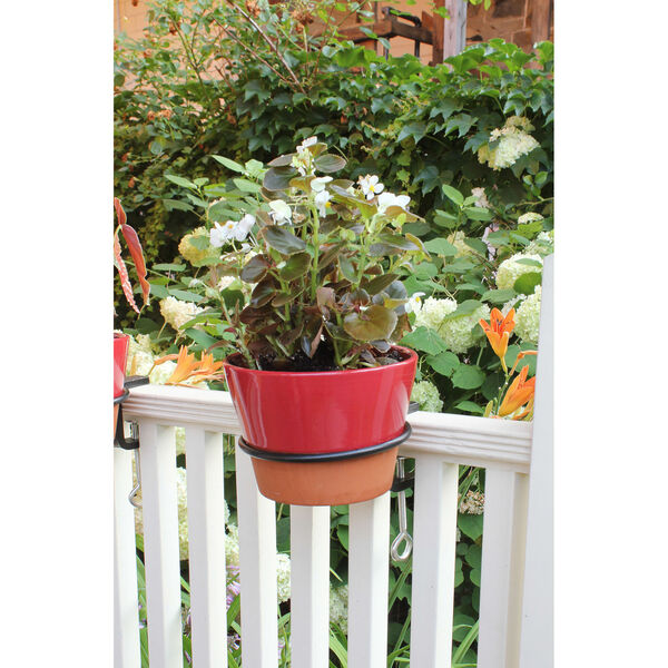 Black Powdercoat 6-Inch Clamp-on Flower Pot Ring, Set of Two, image 4