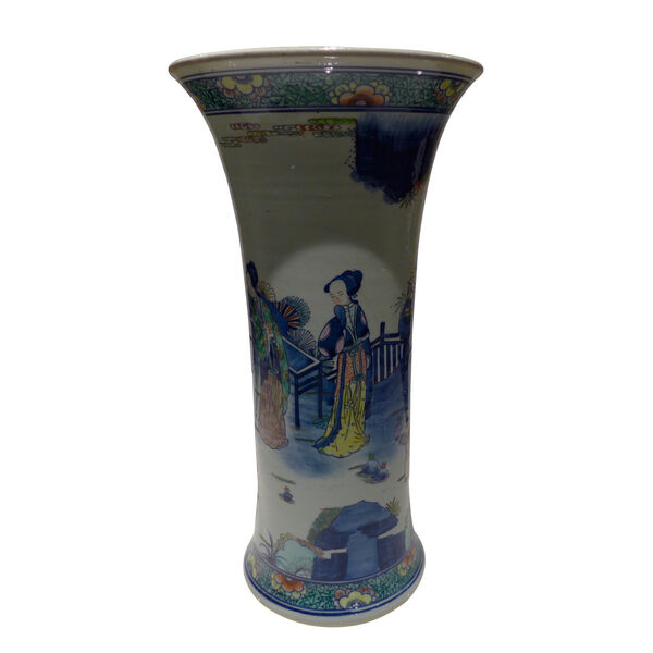 Multicolor Hand Painted Ming Style Vase, image 1