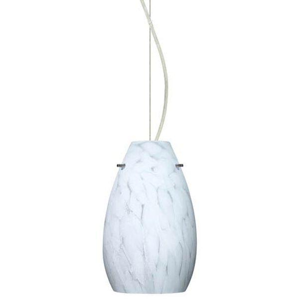 Pera 9 Satin Nickel One-Light LED Mini Pendant with Carrera Glass, Dome Canopy, image 1