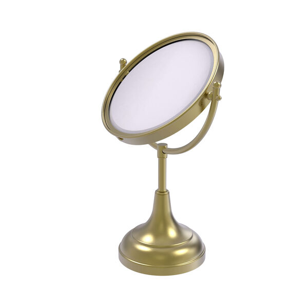 Satin Brass Eight-Inch Vanity Top Make-Up Mirror 4X Magnification, image 1