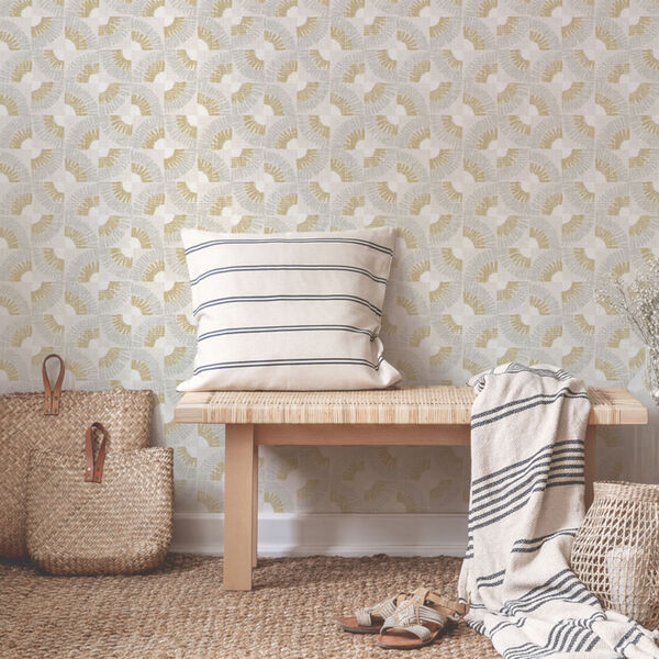 Grasscloth Gold Fans Canary Peel and Stick Wallpaper, image 1