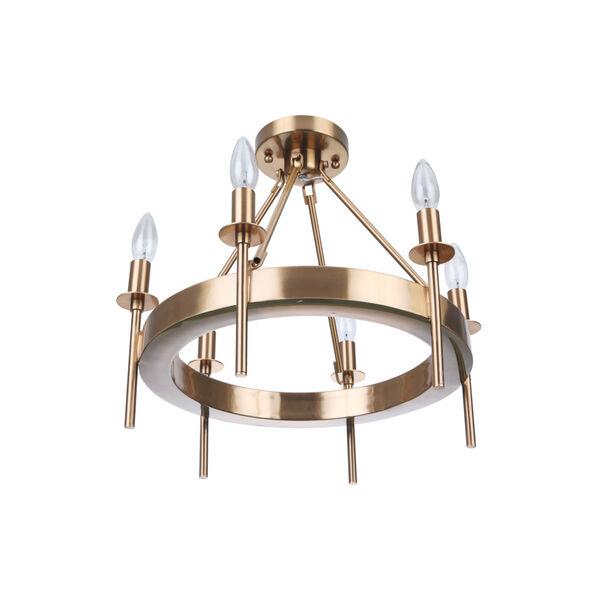 Larrson Satin Brass Six-Light Semi Flush, image 4