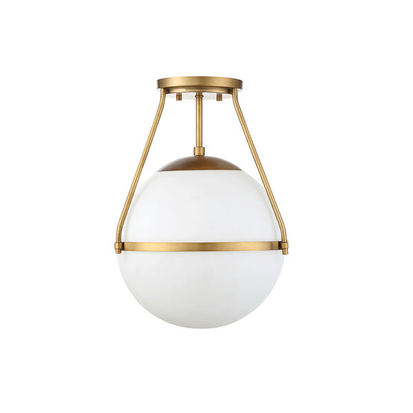 Nicollet Natural Brass One-Light Semi Flush Mount with White Opal Glass, image 2