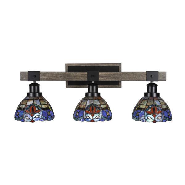 Tacoma Matte Black and Distressed Wood-lock Metal 27-Inch Three-Light Bath Light with Sierra Art Glass Shade, image 1
