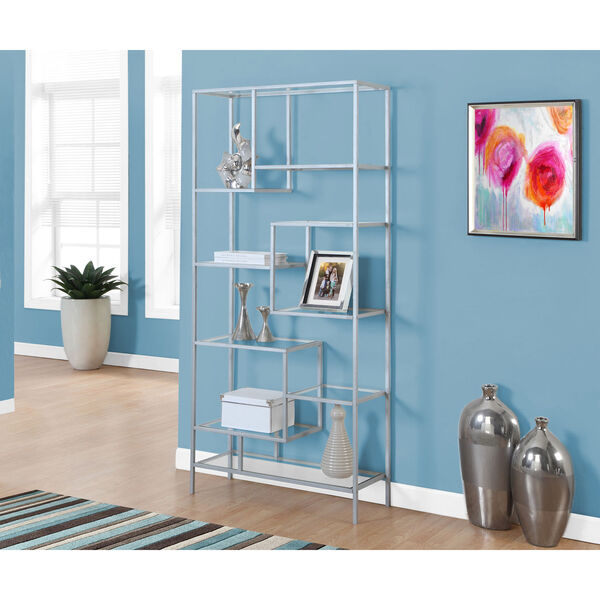 Bookcase - 72H / Silver Metal with Tempered Glass, image 1