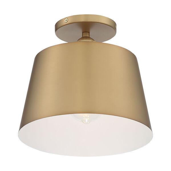Motif Brushed Brass and White 10-Inch One-Light Semi-Flush Mount, image 1