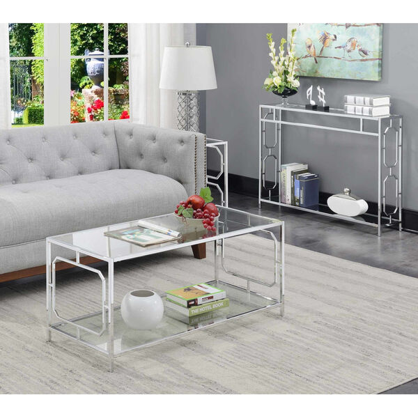 Omega Chrome Coffee Table with Clear Glass, image 3