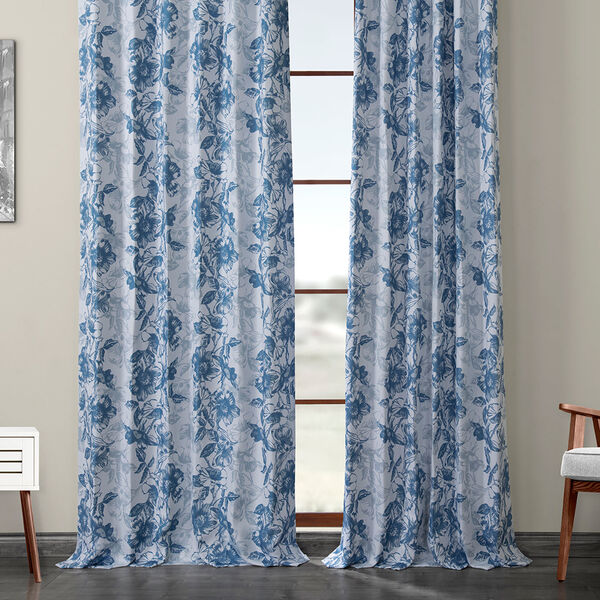 Blue Printed 84 x 50-Inch Polyester Blackout Curtain Single Panel, image 6