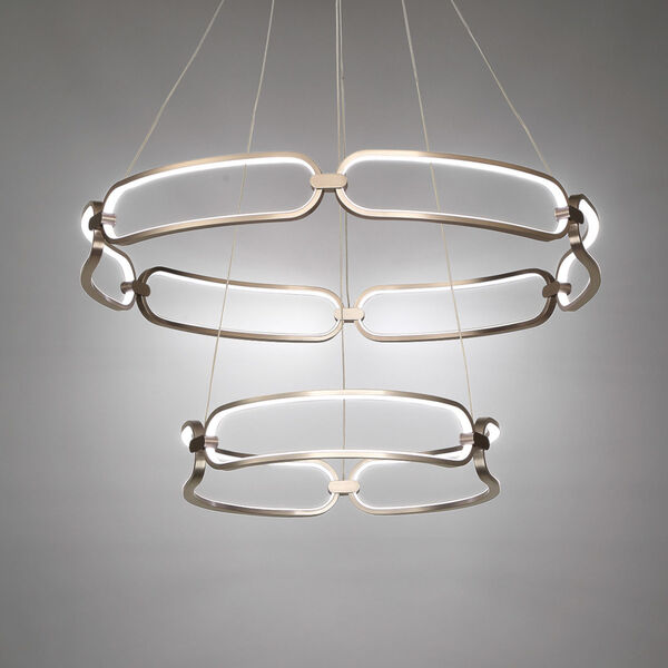Charmed Soft Gold 32-Inch Two-Ring LED Chandelier, image 3