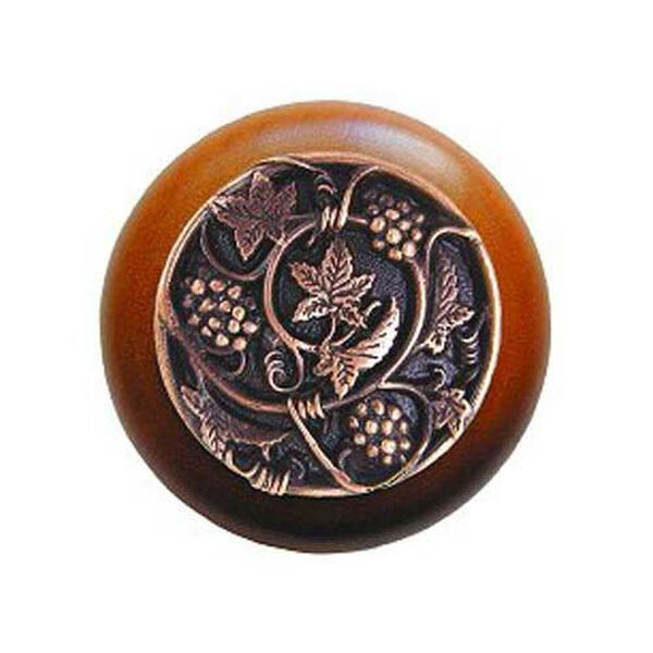 Cherry Wood Grapevines Knob with Antique Copper, image 1