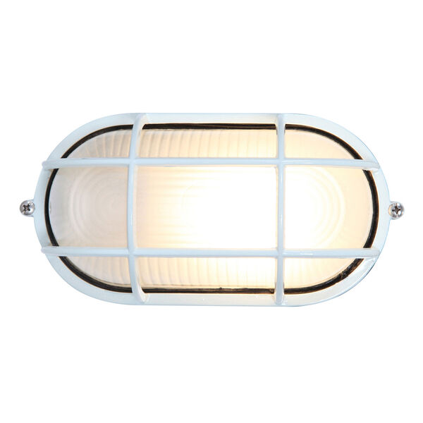 Nauticus White One-Light Outdoor Wall Mount with Frosted Glass and Metal Cage, image 1