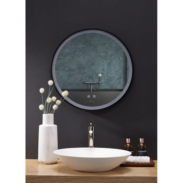 Cirque Black 24-Inch Round LED Framed Mirror with Defogger and Dimmer, image 2
