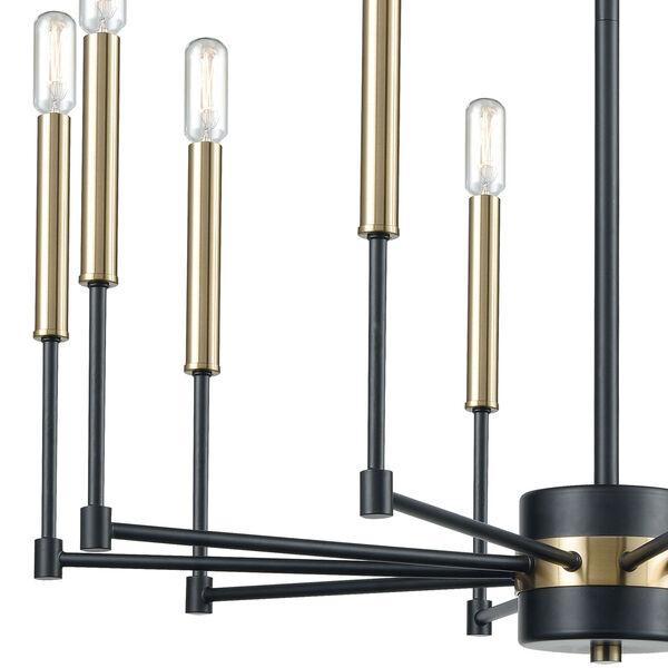 Livingston Matte Black and Satin Brass 10-Light Chandelier, image 2