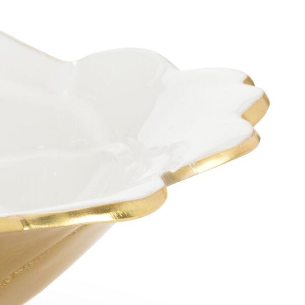 White and Metallic Gold Enameled Decorative Bowl, image 2