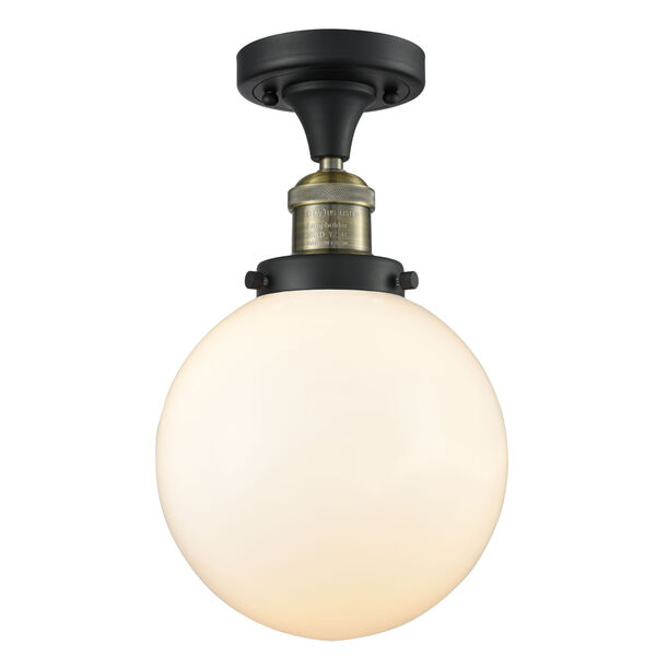 Franklin Restoration Black Antique Brass 13-Inch One-Light Semi-Flush Mount with Large Matte White Cased Beacon Shade, image 1