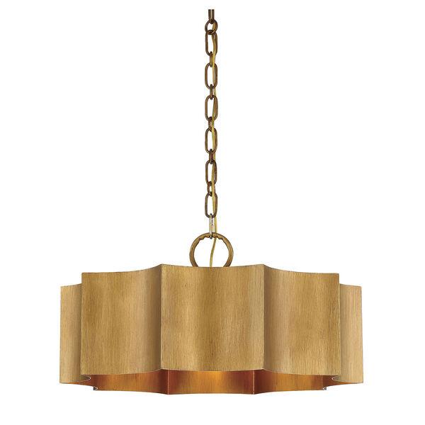 Shelby Gold Patina Three-Light Pendant, image 1