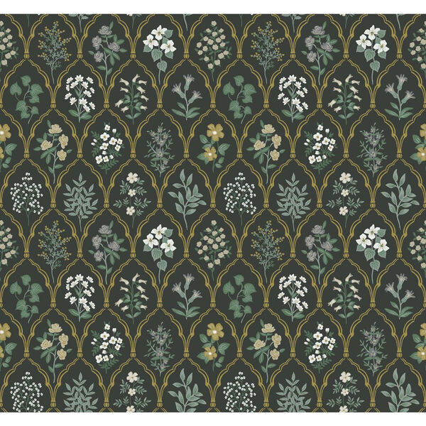 Rifle Paper Co. Black and Cream Hawthorne Wallpaper, image 2