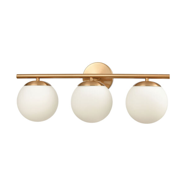 Hollywood Satin Brass Three-Light Bath Vanity, image 2