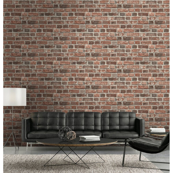 NextWall Distressed Red Brick Peel and Stick Wallpaper, image 3