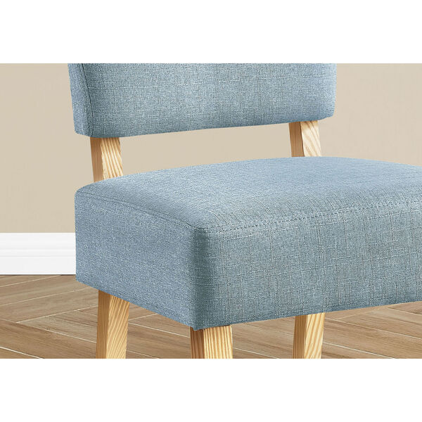 Light Blue and Natural Armless Chair, image 3