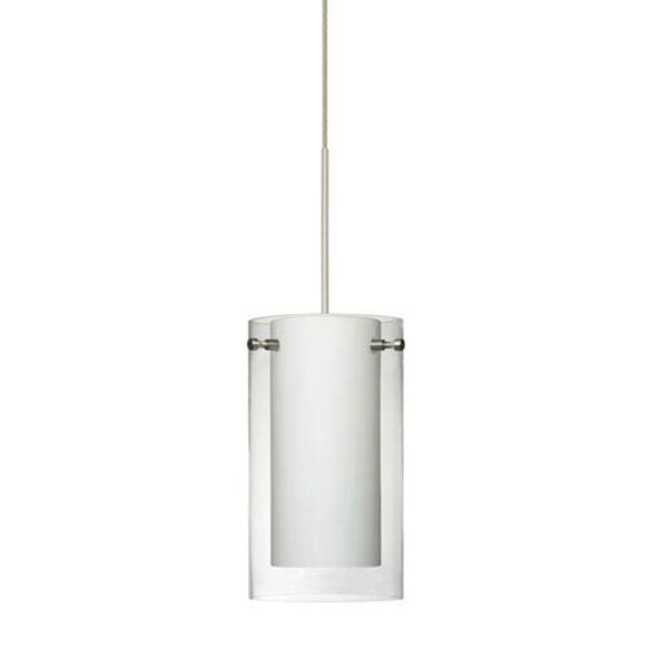 Pahu Satin Nickel LED Mini Pendant with Flat Canopy and Clear and Opal Glass, image 1