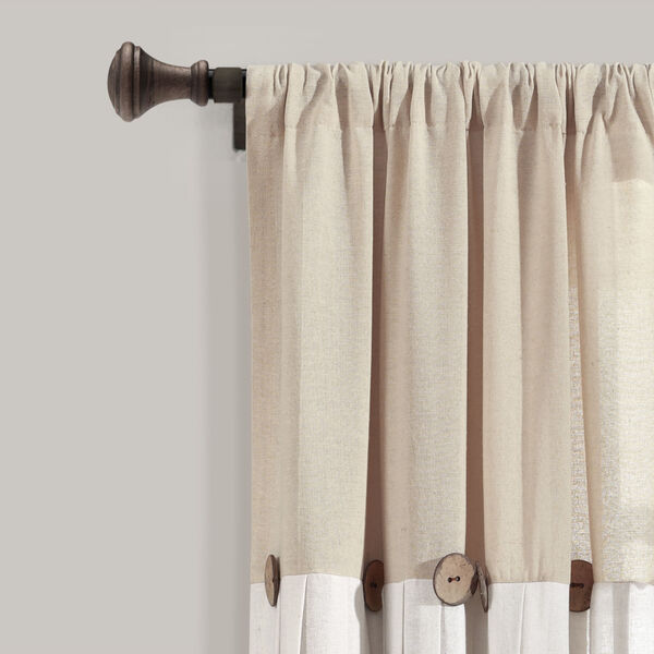 Linen Button Beige and Off White 40 x 63 In. Single Window Curtain Panel, image 2