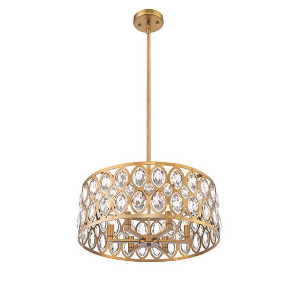 Dealey Heirloom Brass Six-Light Chandelier With Transparent Crystal, image 2