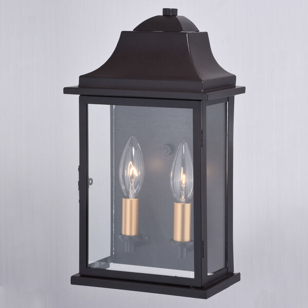 Bristol Oil Burnished Bronze and Light Gold Two-Light Outdoor Wall Sconce, image 4